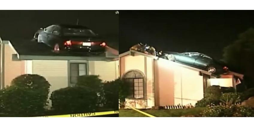 Угонщик авто оказался на крыше