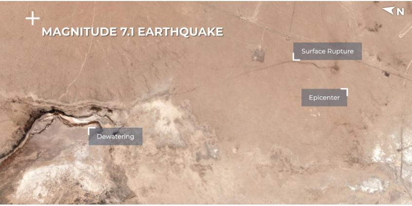 После землетрясений в Калифорнии появился разлом, который видно из космоса