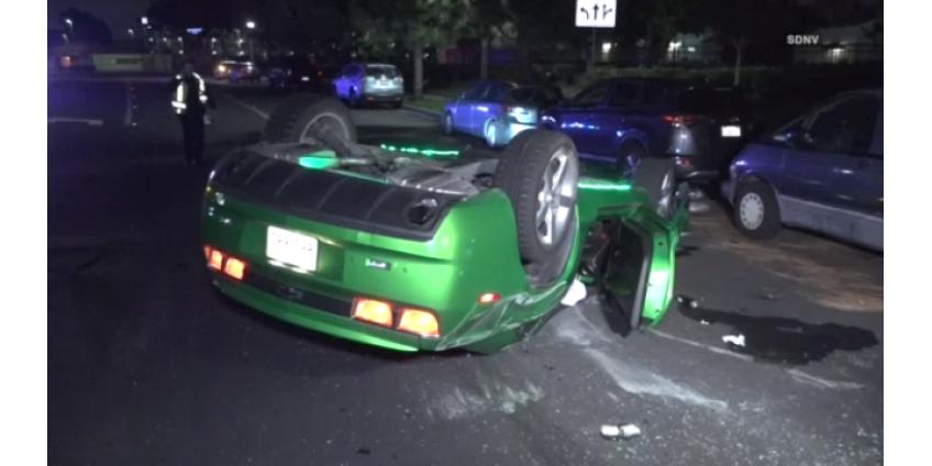 ДТП в Сан-Диего: перевернулся Chevrolet Camaro, водитель госпитализирован