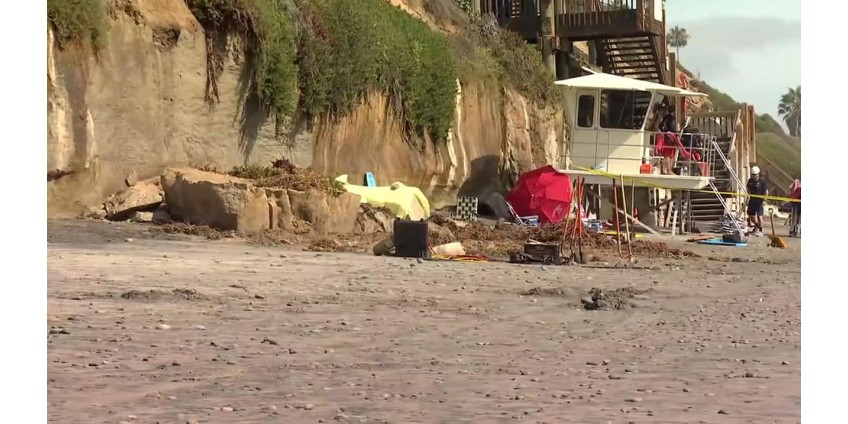В округе Сан-Диего на пляже рухнула скала: погибли люди
