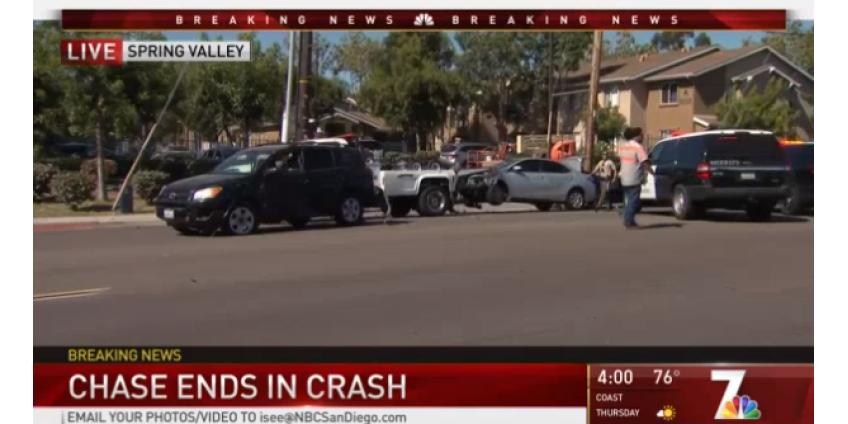 Погоня за подозреваемым в Spring Valley закончилась несколькими авариями