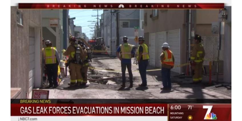 Эвакуация, вызванная утечкой газа в Mission Beach в Сан-Диего, может продлиться до вечера четверга