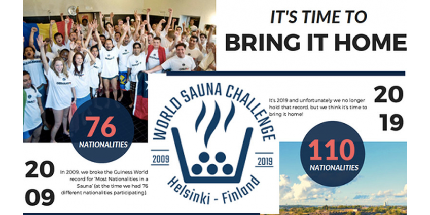 Финляндия побила мировой рекорд по одновременному пребыванию в сауне людей разных национальностей