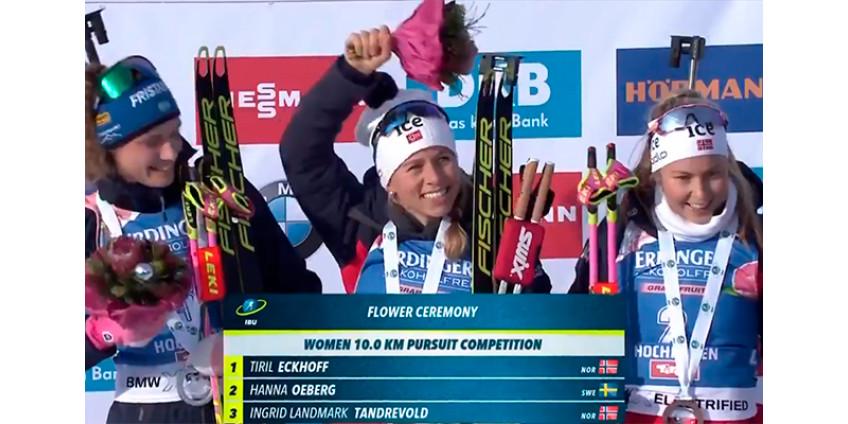 Норвежская биатлонистка Экхофф победила в гонке преследования на этапе Кубка мира