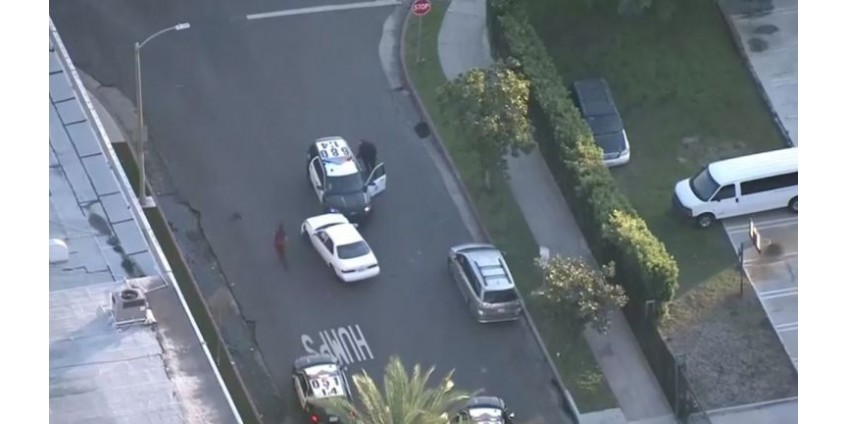 Угонщик автомобиля задержан после столкновения с полицейским автомобилем в центре Лос-Анджелеса