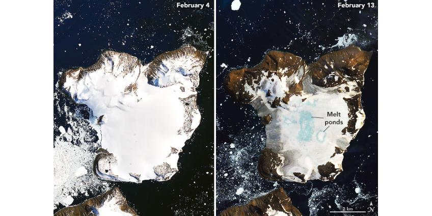 Антарктика тает: NASA опубликовало фото беспрецедентного таяния ледяной шапки острова Игл