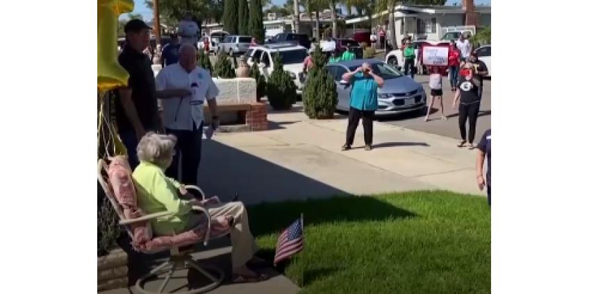 Бабушку-ветерана из Сан-Диего массово поздравили с Днем рождения даже в условиях карантина