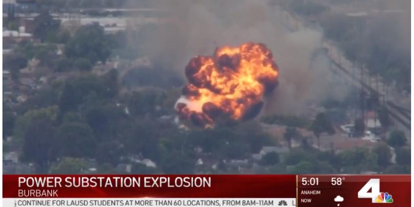 На электроподстанции в Бербанке произошел мощный взрыв