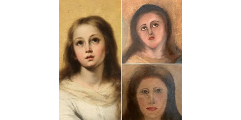 Испанский реставратор-любитель изуродовал лицо Девы Марии на копии картины Мурильо