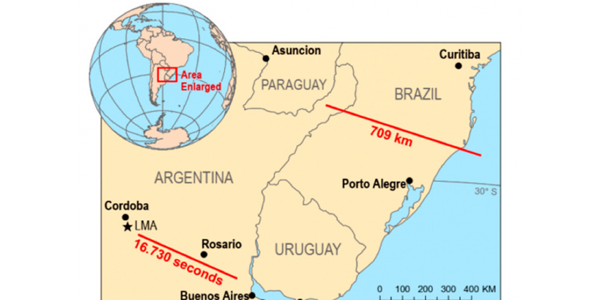 """Подтверждены две рекордные """"мегавспышки"""" молний в Бразилии и Аргентине"""