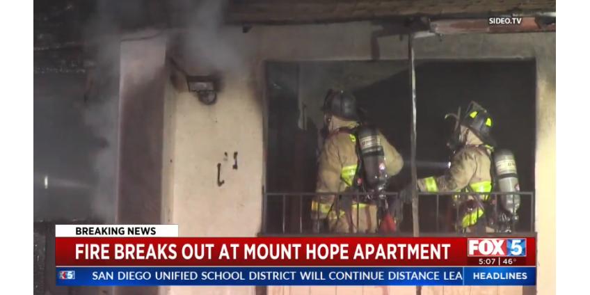 В результате пожара в Сан-Диего пострадал один человек, семеро остались без крова