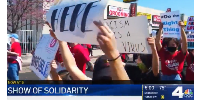 """В районе Лос-Анджелеса прошли несколько митингов с призывами """"остановить азиатскую ненависть"""""""