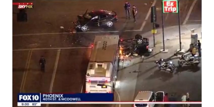 Трое взрослых и ребенок были тяжело ранены в автомобильной аварии в Финиксе
