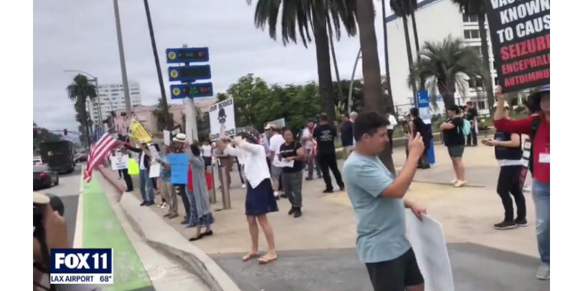 В Санта-Монике прошел митинг против принудительной вакцинации