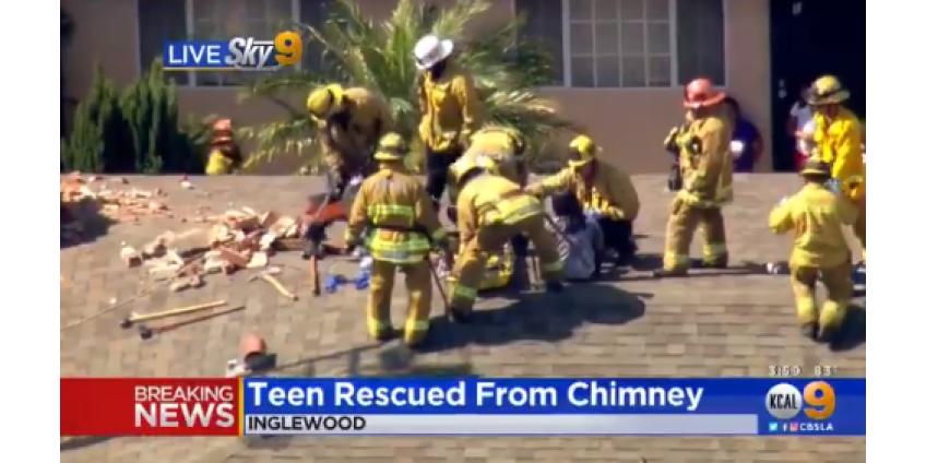 Пожарные Лос-Анджелеса спасли девочку, застрявшую в дымоходе